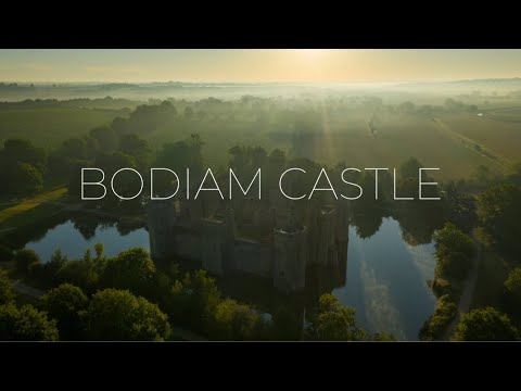 Bodiam castle by drone - east sussex uk