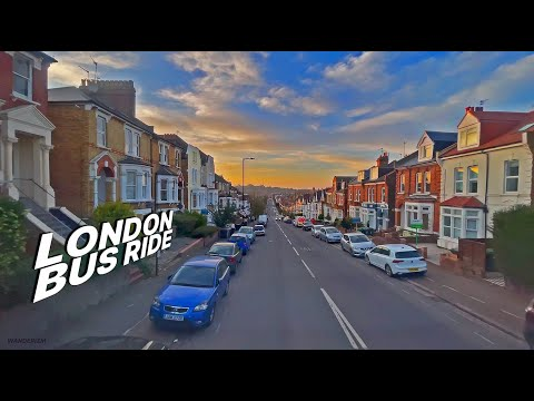London bus ride 🇬🇧 - route w3 🚌 - uphill & downhill golden hour 🌅 bus journey to alexandra palace 🏰