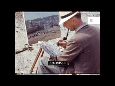 1950s, 1960s st ives, cornwall, coastal landscape painting, 16mm