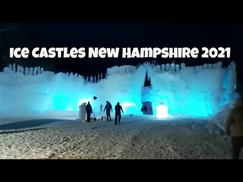Ice castles new hampshire 2021   ice sculptures, horse sleigh rides, snow slides. #icecastles