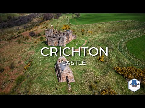 Crichton castle from above in 4k