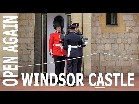 Windsor castle reopens to the public - grenadier guards hand over to 27th reg. royal logistic corps.