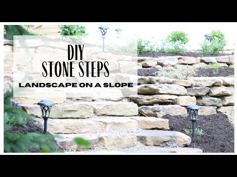 Stone steps on a slope ~ diy stonescape ~ landscaping with rocks ~ diy landscaping