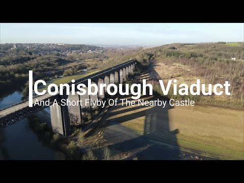 Conisbrough viaduct and flyby of nearby castle
