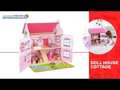 Wooden tooky toy dollhouse cottage dream-house included furniture 32 pcs